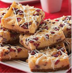 Sandra Lee_White Chocolate Cranberry Cream Cheese Bars with Cheesecake Icing Drizzle Recipe
