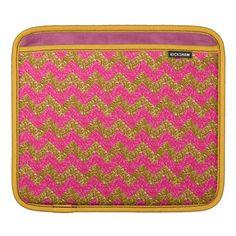 Glitter Chevron, Pink-Gold iPAD SLEEVE #zazzle #electronics #ipadsleeve #glitter #chevron #pink #gold