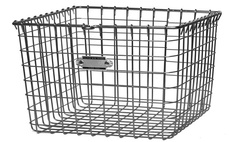 Wire Storage Basket  Multi-purpose wire storage basket. Made of cold-rolled steel that's been zinc-plated to prevent rust. Has a shinier finish than galvanized steel. Made in Shiner, Texas. Comes individually unlabeled, or as a set of 4, labeled 1-4. $42 (for one)