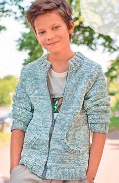 Jacket for boy with zipper Knitting Patterns Free, Baby Knitting, Baby Blue Prom Dresses, Knitwear, Knit Crochet, Men Sweater, Knit Sweaters, Kids Outfits, Kids Fashion