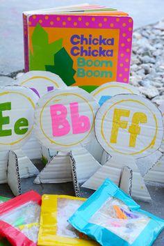 Chicka Chicka Boom Boom Alphabet Bean Bag Toss (from Meri Cherry). Literacy Bags, Preschool Books, Kindergarten Literacy, Early Literacy, Alphabet For Kids, Alphabet Activities, Literacy Activities, Preschool Activities, Summer Activities