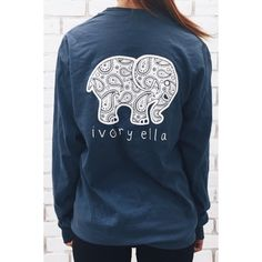 Elephant Ivory Ella Graphic Long Sleeve Tee ($12) ❤ liked on Polyvore featuring tops, t-shirts, purple, round neck t shirt, graphic tees, elephant tee, purple graphic tees and long sleeve graphic tees