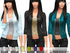 The Sims Resource: Embellished Quilted Jacket by ekinege • Sims 4 Downloads