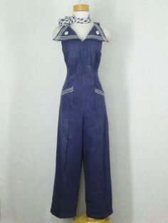 1940's halter jumpsuit.  Change the sailor theme and it is figure flattering.  I Love the 40's fashion!!!!!