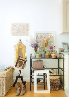 Her budget finds include a white desk with a built-in ladder for P5,000, a pink folding chair for P1,000 (top photo), and a dress form for P1,000 (bottom photo). See more photos and view the full home here:http://www.realliving.com.ph/homes/bohemian-chic-style-in-a-young-traveler-s-studio-unit