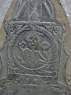 Tombstone in Burial Hill cemetery, Marblehead, MA