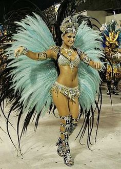 Brazilian Samba Costume - aqua & black wings backpiece, silver beaded bikini and crown