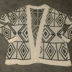 Tribal print cardigan Photo looks like the sweater is white/creme. Its definitely white Sweaters Cardigans