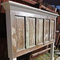 King size headboard made using a very old 5 panel door that was cut to…