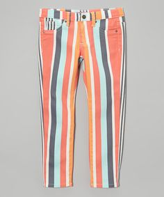 Another great find on #zulily! Orange & Blue Stripe Pants - Toddler & Girls #zulilyfinds