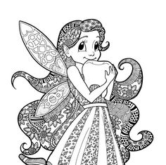 Items Similar To Tooth Fairy Coloring Page Zentangle Line Art Decorative Doodle Ilration Cartoon Tale Character For Children Fantasy Cute