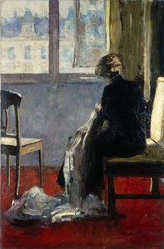 Lesser Ury (German; 1861-1931): The Red Carpet, 1889. Oil on canvas.