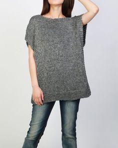 Teje a mano la túnica suéter eco algodón mujer carbón por MaxMelody