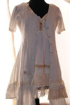 Upcycled recycled blouse, mori girl, natural kei, boho, girly, cottage chic, farmgirl glam layering blouse. $35.00, via Etsy.