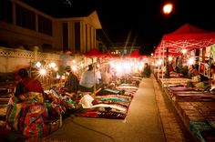 Night market in Luang Prabang, Laos Traditional Market, Luang Prabang, Cambodia, Laos, Travel Ideas, Passport, Places Ive Been, The Good Place, Vietnam