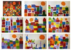 elementary school of Eschau: Castle and sun -inspired by Paul Klee Shape Collage, Shape Art, Kindergarten Art, Preschool Art, Art 2nd Grade, Paul Klee Artwork, Arte Elemental, Ecole Art, Art Plastique