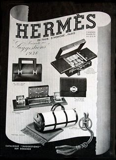 Occasionally period advertising and posters like this Hermes Art Deco Style Poster come to my attention. Vintage Luggage, Vintage Purses, Vintage Bags, Vintage Handbags, Vintage Travel, Hermes Vintage, Hermes Handbags, Burberry Handbags, Designer Handbags
