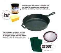 Seasoning a cast iron pan.