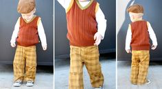 Use an old sweater to make a boys sweater vest!