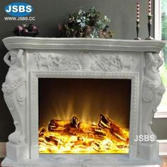 Stone Carved marble fireplace mantel Marble Fireplace Mantel, Marble Fireplaces, Fireplace Ideas, Fireplace Surrounds, Fireplace Mantels, Stone Fountains, Stone Cladding, Stone Veneer, Wooden Crates