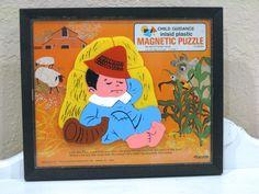 Vintage Puzzle - Magnetic - Little Boy Blue - Child Guidance - 1960's - Retro Nursery Rhyme - Toy by NehiandZotz on Etsy