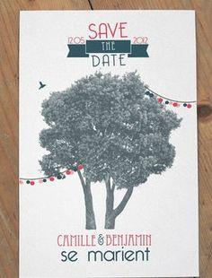 Save the date Arbre et guirlande