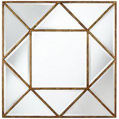 """Uttermost Tretten Bronze Geometric 34"""" Square Wall Mirror"""