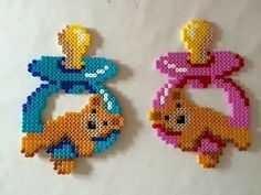 ~ Pacifiers hama beads by sckaziepigen Hama Beads Design, Diy Perler Beads, Perler Bead Art, Pearler Beads, Fuse Beads, Melty Bead Patterns, Pearler Bead Patterns, Perler Patterns, Beading Patterns