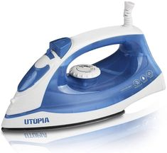 Utopia Home Steam Iron with Nonstick Soleplate - Small Size Lightweight - Best for Travel - Powerful Steam Output - 360 Degree Swivel Cord- 200 mm water tank - Dry Iron Function 1200 Watt (Blue)