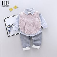 Pink Baby Toddler Print Long Sleeve Shirt And Vest With Pant Set Kids Vest, Sweater Shirt, T Shirt, Baby Shirts, Baby Sweaters, Trousers Women, Baby Dress, Kids Outfits, Long Sleeve Shirts