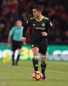 Eden Hazard of Chelsea controls the ball during the Premier League match between Middlesbrough and Chelsea at Riverside Stadium on November 20, 2016 in Middlesbrough, England.