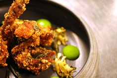 Cuca's Rice Crusted Soft Shell Crab: garlic aioli, bbq pineapple, curry leaf. #Cuca #Bali #food #foodie