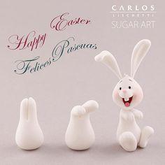 fondant cakeart bunny More - pascuas ideas Fondant Figures, Fondant Cake Toppers, Fondant Cakes, Cupcake Toppers, Cake Topper Tutorial, Fondant Tutorial, Fondant Rabbit, Fondant Animals, Fondant Decorations