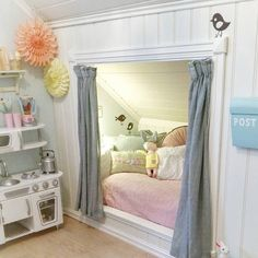 Built-in bed in a little girl's room. Credit: huntorp on Instagram #barnerom #jenterom