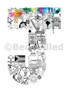 Doodle Heaven Letter O Typography Art Print From BedoodledCoUk