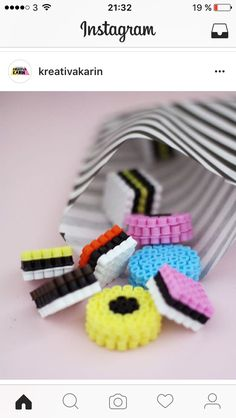 Pin on Hama Diy Perler Beads, Perler Bead Art, Pearler Bead Patterns, Perler Patterns, Bead Crafts, Diy And Crafts, Crafts For Kids, Bonbon Halloween, Liquorice Allsorts