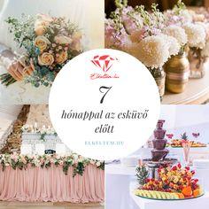 Esküvőszervezés: 7 hónappal az esküvő előtt: Kezdenek kialakulni az esküvő részletei! Ha aggódsz, hogy valamit elfelejtettél, vagy elakadtál a szervezésben, lássuk, mik a legfontosabb teendőid 7 hónappal az esküvő előtt! Table Decorations, Wedding, Furniture, Home Decor, Valentines Day Weddings, Decoration Home, Room Decor, Home Furnishings, Weddings