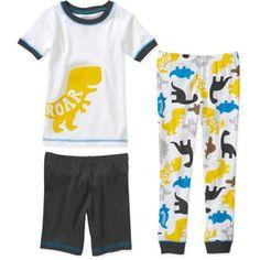 Faded Glory Bed Time Roar Infant Toddler Boys Sleepwear Set Dinosaur Pajamas