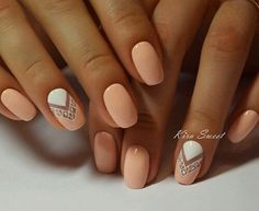 Nude Nails With White Design