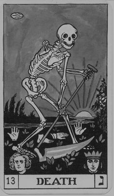 What Are Tarot Cards? Made up of no less than seventy-eight cards, each deck of Tarot cards are all the same. Tarot cards come in all sizes with all types of artwork on both the front and back, some even make their own Tarot cards Tarot Death, La Danse Macabre, Posters Vintage, Vintage Art, Art Carte, Poster Design, Art Graphique, Memento Mori, Skull Art