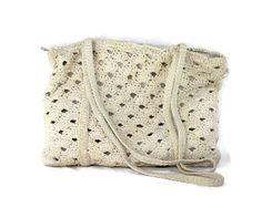 Crochet Beach Bag  1970s  Cream  White  Metal by filthyrebena, $15.00