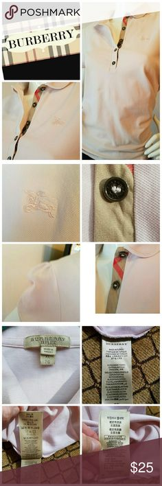Burberry Brit Polo Light Pink Check Pique Burberry Polo Shirt.   These shirts run extremely small.  Its marked as an XL, but its closer to a Med/Lar.  measurements: arm pit 18.5inches, length 24.5inches, sleeve lemgtj 7inches, sleeve opening measured around 13inches. Shirt has 2 super tiny pindot color imperfections that you honestly will have a difficult time finding, but did want to note (see photo).  Other than that the shirt is in excellent condition. Please use meadurements for proper…