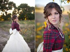 Equestrian photo shoot with plaid shirt and full wedding skirt.  Great idea for country chic and picnic themed weddings