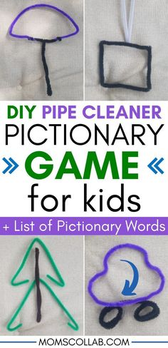 Pipe cleaner games - fun fine motor diy pictionary game for kids. If youre looking for a fun game for kids that doubles Winter Activities For Kids, Learning Games For Kids, Educational Activities For Kids, Fun Games For Kids, Crafts For Kids, Pictionary For Kids, Pictionary Word List, Pipe Cleaner Crafts, Pipe Cleaners