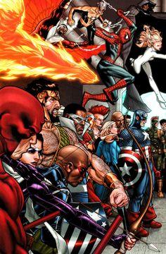 Civil War : Anti-registration (Daredevil, Artemis, Patriot, Hercules, Falcon, Capain America, Luke Cage, Spider-Man, Invisible Woman, the Human Torch, Solo, Cloak & Dagger) by Steve McNiven