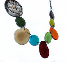 Other Necklace Perfect for Mother's Day! Eco Chic Necklace Statement Jewelry Unique Jewelry Tagua Recycled Newspaper by imwyred