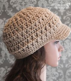 Crochet PATTERN - Cabled Crochet Newsboy Hat Pattern