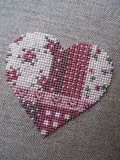 Cross Stitch Heart, Beaded Cross Stitch, Counted Cross Stitch Patterns, Cross Stitch Designs, Sashiko Embroidery, Cross Stitch Embroidery, Needlepoint Stitches, Needlework, Art Du Fil
