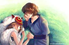 Studio Ghibli - Ashitaka watching over sleeping San. Hotarubi No Mori, Studio Ghibli Movies, Kimi No Na Wa, Anime Princess, Howls Moving Castle, Animation, Hayao Miyazaki, Anime Ships, Totoro