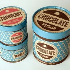 Beautiful new packaging and branding for American icecream and coffee house Hot Cup Cold Spoon. Very retro inspired, love the use of the muted colours and patterns. Retro Packaging, Ice Cream Packaging, Brand Packaging, Dairy Packaging, Design Packaging, Product Packaging, Web Design, Label Design, Food Design